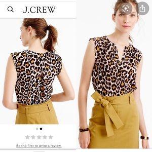 J. Crew SILK cuffed-sleeves leopard print blouse